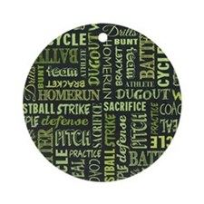 Fastpitch Softball Game Chalkboard Words Ornament