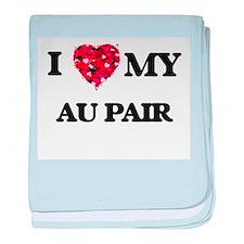 I love my Au Pair hearts design baby blanket