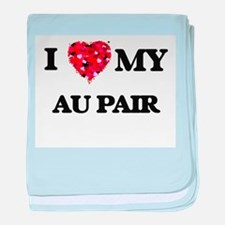 I love my Au Pair hearts design baby blanket