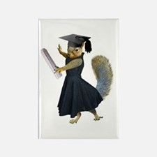 Girl Squirrel Grad Rectangle Magnet