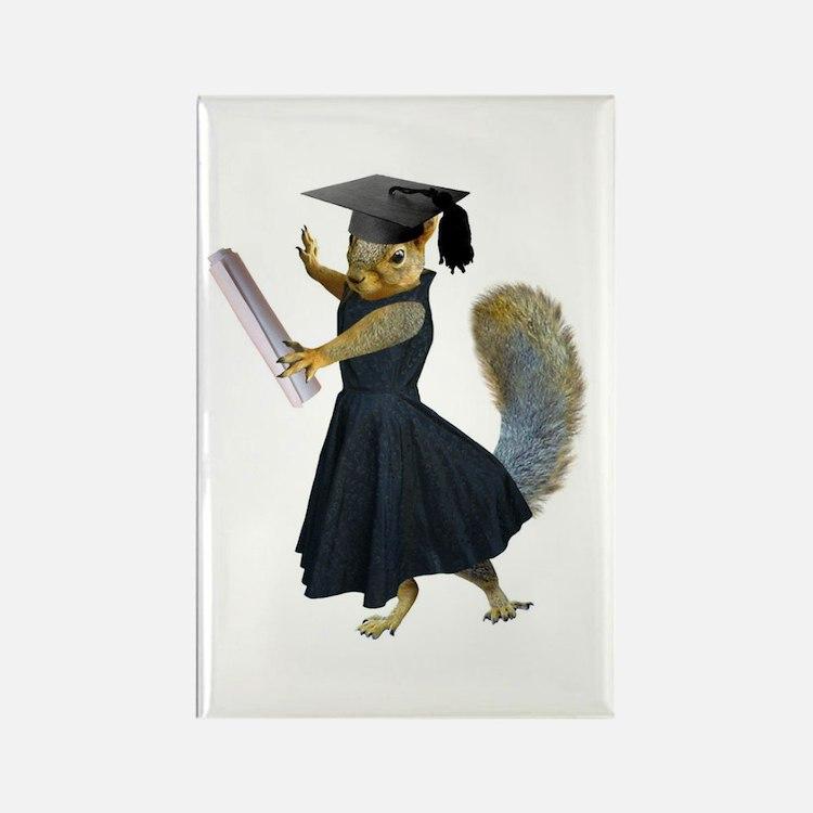 Girl Squirrel Grad Rectangle Magnet