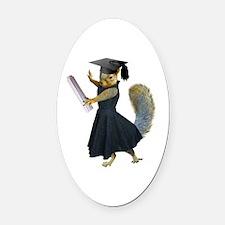 Girl Squirrel Grad Oval Car Magnet