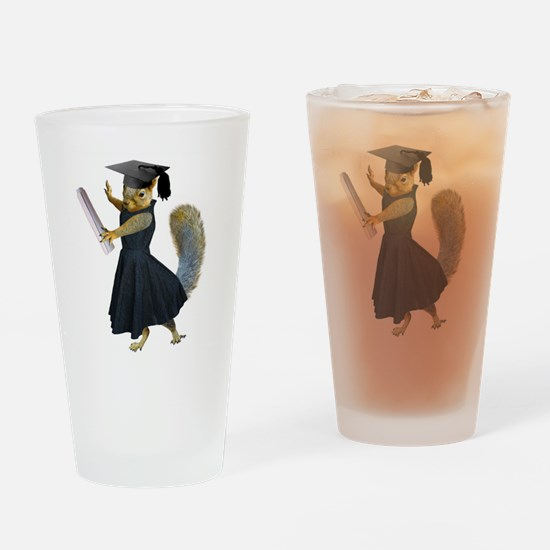 Girl Squirrel Grad Drinking Glass