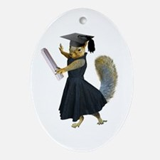 Girl Squirrel Grad Ornament (Oval)