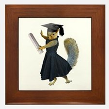 Girl Squirrel Grad Framed Tile