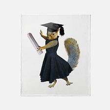 Girl Squirrel Grad Throw Blanket