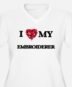 I love my Embroiderer hearts des Plus Size T-Shirt