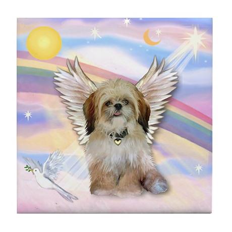 Angel Shih Tzu in Clouds Tile Coaster