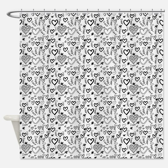 Cute Doodle Hearts Pattern Backgrou Shower Curtain