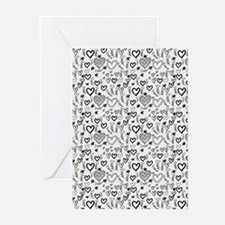Cute Doodle Hearts Patte Greeting Cards (Pk of 20)