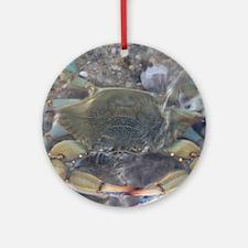 Cute Crab fishing Round Ornament