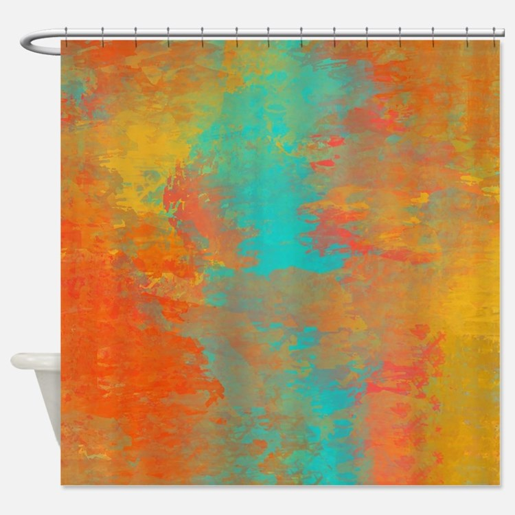 Orange Aqua Shower Curtains