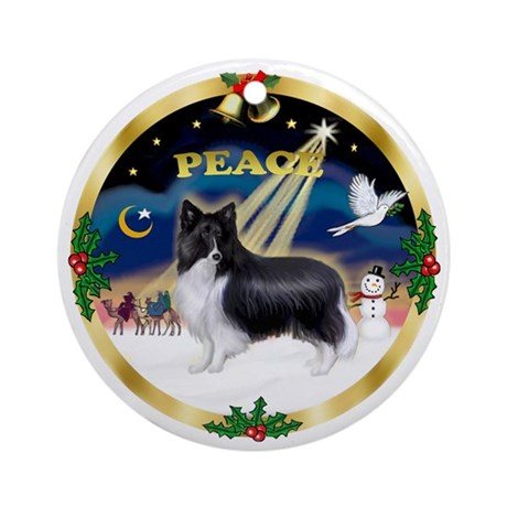 Peace - Bi Black Sheltie Xmas Ornament (Round)