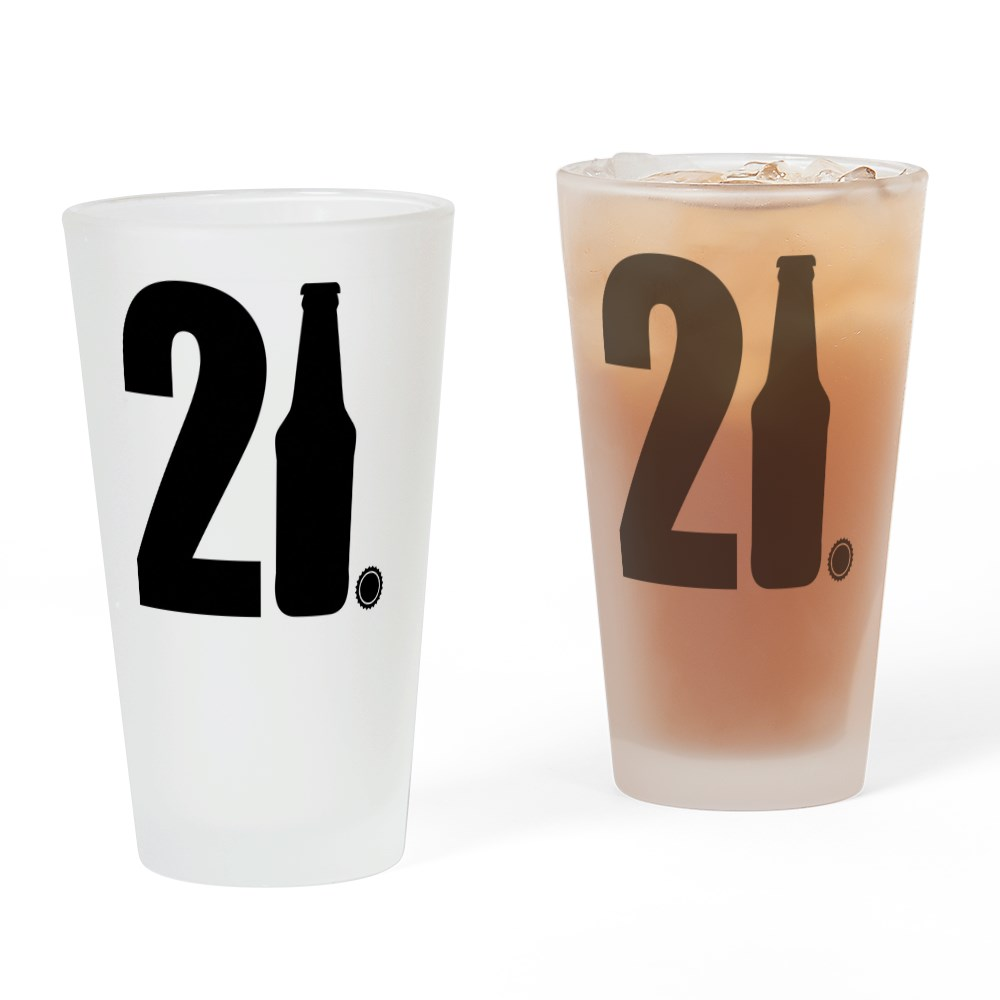 CafePress 21 beer bottle Drinking Glass