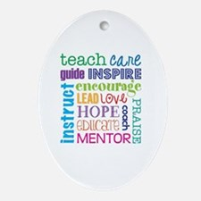 Teacher subway art Oval Ornament