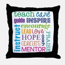 Teacher subway art Throw Pillow