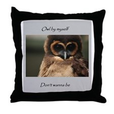 Owl By Myself Throw Pillow