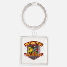 Fire and Rescue Volunteer Square Keychain