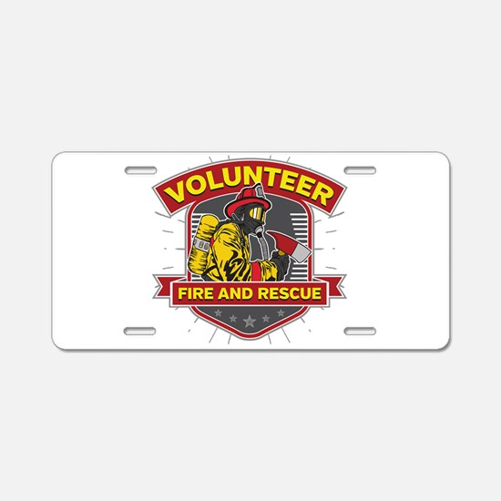 Fire and Rescue Volunteer Aluminum License Plate