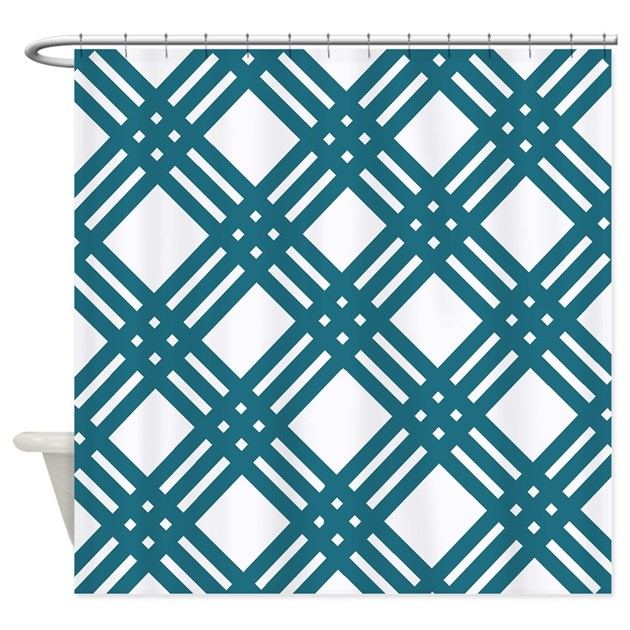 Large Slate Blue Gingham Shower Curtain By Stripstrapstriped