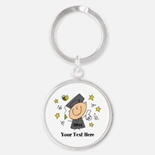 Cute Boy Graduate Round Keychain