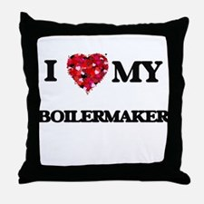 I love my Boilermaker hearts design Throw Pillow