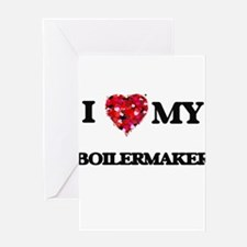 I love my Boilermaker hearts design Greeting Cards
