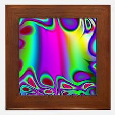 Rainbow Fractal Framed Tile
