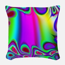 Rainbow Fractal Woven Throw Pillow
