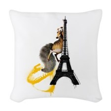 Ice Age Eiffel Tower Scrat Woven Throw Pillow