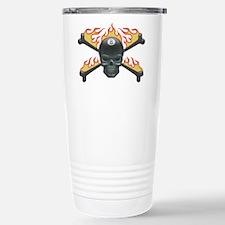 Flaming 8 Skull Stainless Steel Travel Mug