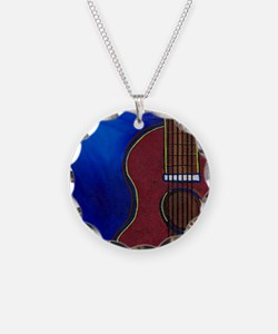 Cute Acoustic guitar Necklace Circle Charm