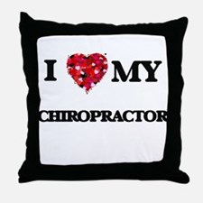 I love my Chiropractor hearts design Throw Pillow