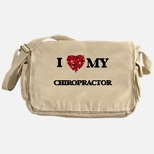 I love my Chiropractor hearts design Messenger Bag