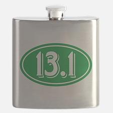 13.1 Half Marathon Oval Green Flask