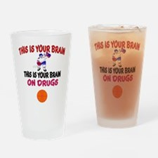 HOCKEY THIS IS YOUR BRAIN Drinking Glass