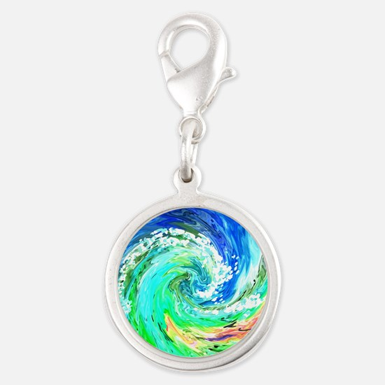 Waves Silver Round Charm
