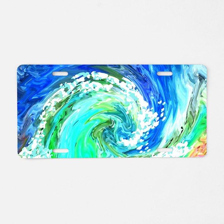Waves Aluminum License Plate