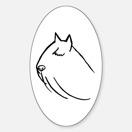 Bouvier Dog Head Sketch Oval Decal