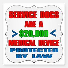 "SERVICE DOG Square Car Magnet 3"" x 3"""