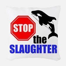 Stop The Slaughter Woven Throw Pillow