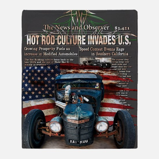 Hot Rod Invasion Throw Blanket