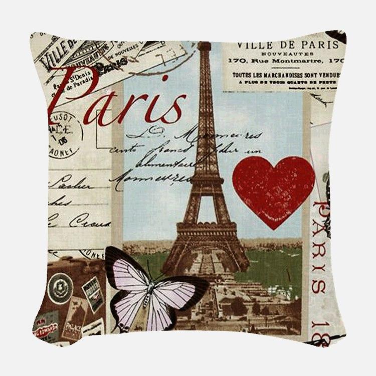 Paris Memories Woven Throw Pillow