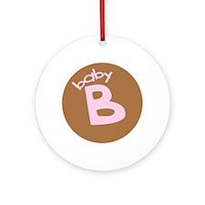 baby B brown/pink Keepsake Ornament (Round)