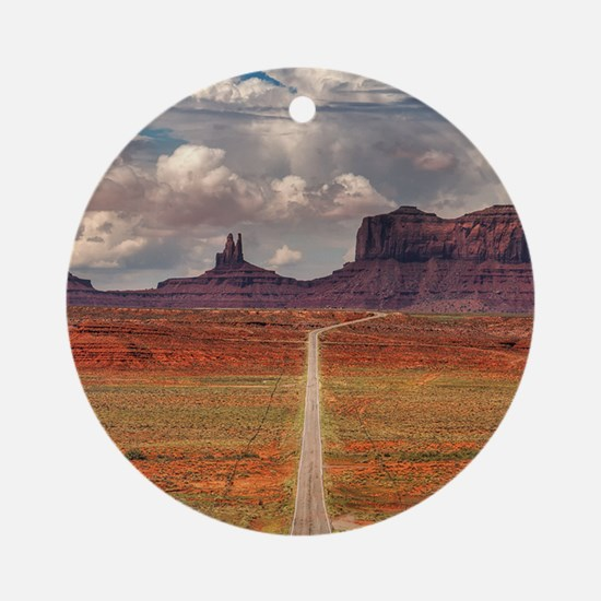 Road Trough Desert Ornament (Round)