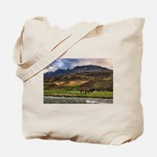 Landscape and Horses Tote Bag