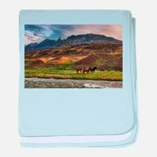 Landscape and Horses baby blanket