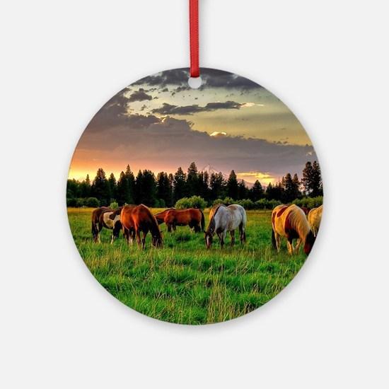 Horses Grazing Ornament (Round)