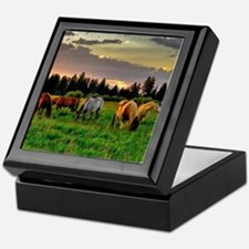 Horses Grazing Keepsake Box
