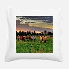Horses Grazing Square Canvas Pillow